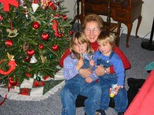 Grandma, my sister and I (left). Christmas 2002.